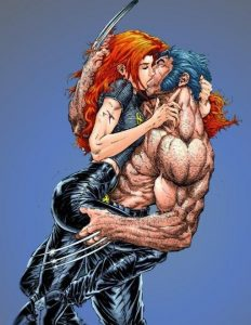 Jean and Wolverine kiss