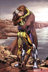 Rogue and Gambit kiss